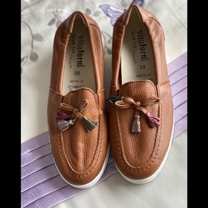 Vitaform New Leather Low Wedge Loafers.  NWOT